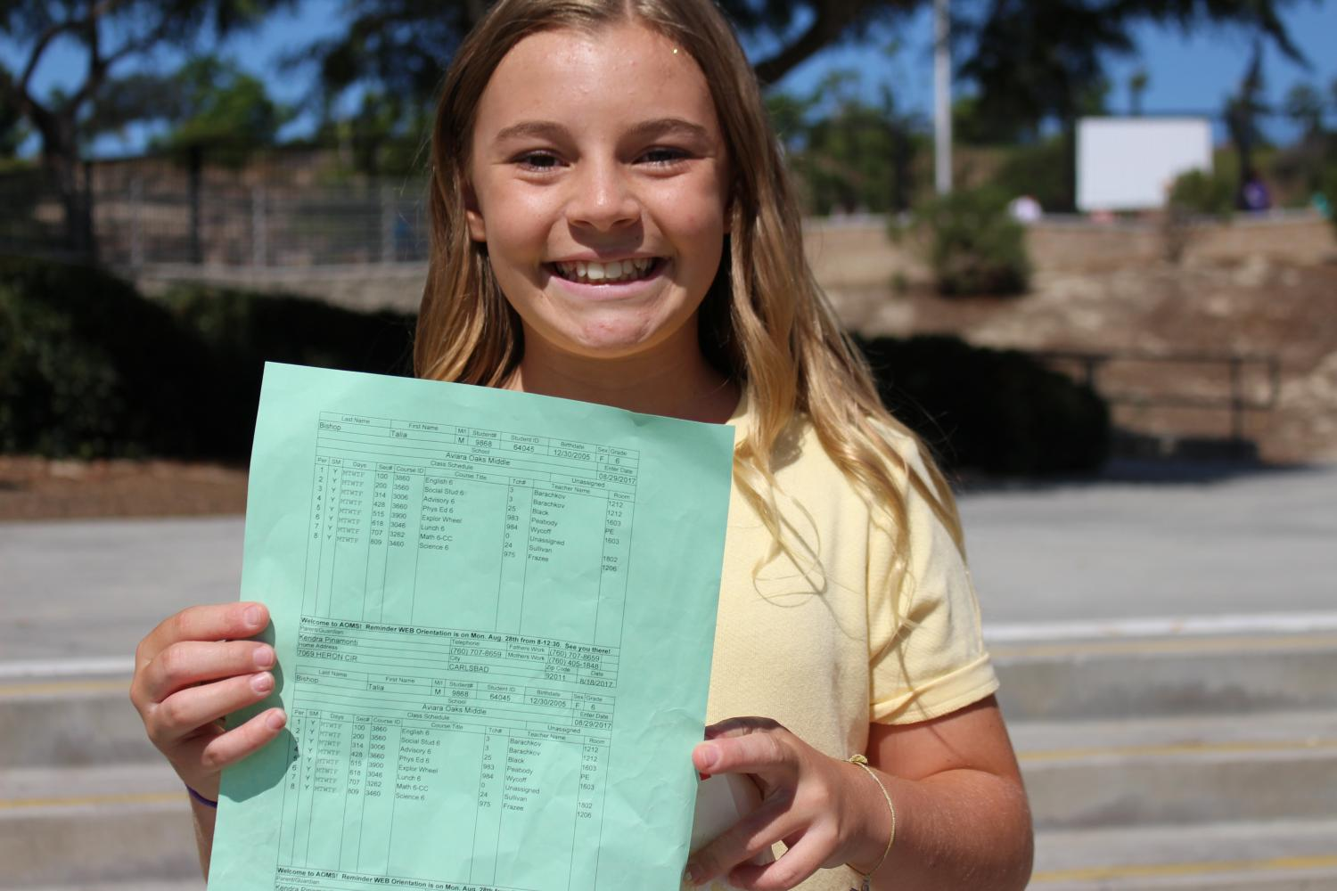 "Talia Bishop (6th Grade), ""My favorite part was probably getting my schedule."""