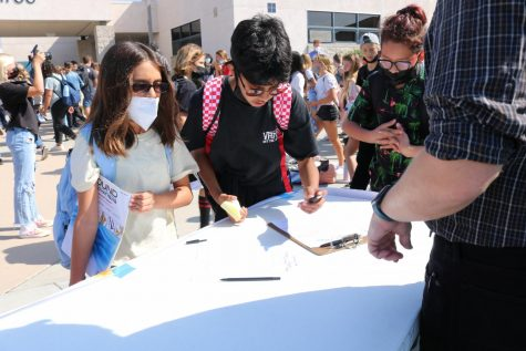 Students signing up for clubs on campus during Club Rush.