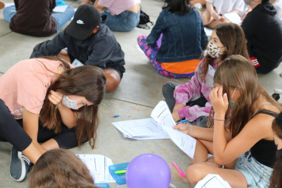 WEB leaders study their scripts for 6th grade Orientation